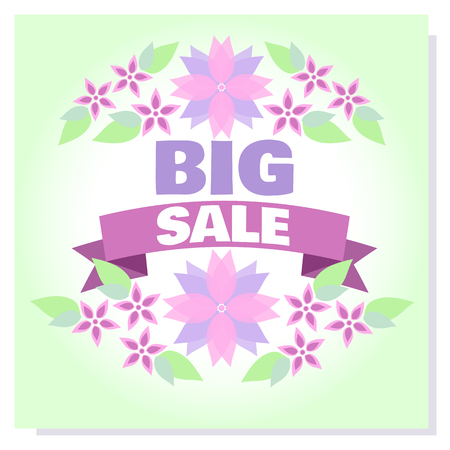 Spring Sale vector banner. Badge blooming lilac flowers, frames for Spring sale. Design template poster for hotel, beauty salon, spa, restaurant, club. Voucher spring discount for social media, blog