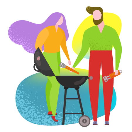 People cooking BBQ street food poster. Vector trendy naive style whimsical figure, characters drawing flat, funky, like matis. Cookout BBQ party image, banner on white background. People cooking grill Illustration