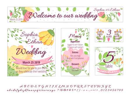Wektor zestaw kart projektowych Happy Wedding. Koncepcja z zaproszeniem na ślub, karta podarunkowa, menu, okładka, plakat, baner. Koncepcja kwiatowy ślub z ręcznie rysowane kwiaty, liście, zieleń. Czcionka ślubna