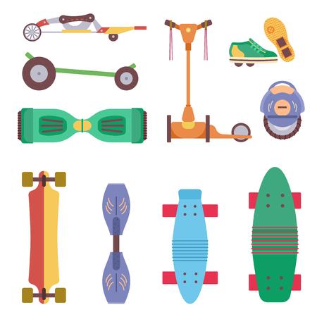 Différents dispositifs de roue de sport d'activité de parc urbain, véhicules et jeu d'illustration vectorielle de transport de parc. Voiture manuelle pour bébé, monocycle solo, patin à gyro, scooter, planche à roulettes, Ripstik, patins à roulettes.