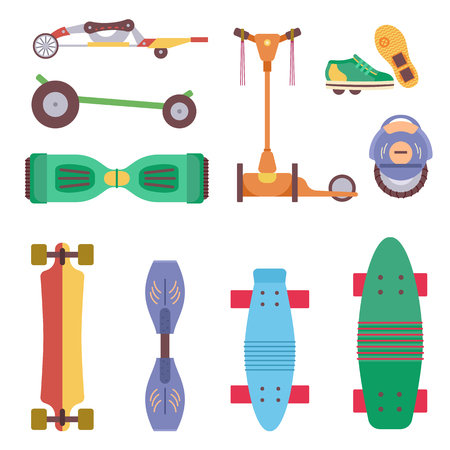 Different urban park activity sport wheel devices, vehicles and park transport vector illustration set. Baby manual car, Solo Unicycle, Gyro pod skate, Scooter, Skate board, Ripstik, roller Skates.