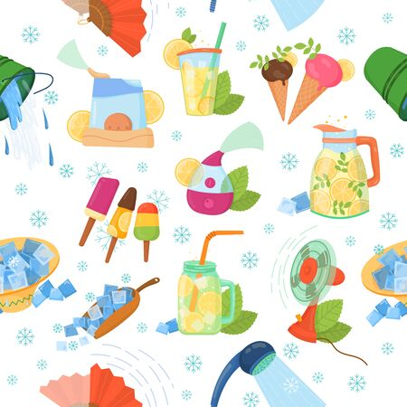 Cooling thing for summer pattern. Summer chill concept background. Chill air conditioner, fan, shaved ice, cold splashing water, cocktail, ice cream, cold air flow breeze. Summer holiday chill pattern Illustration