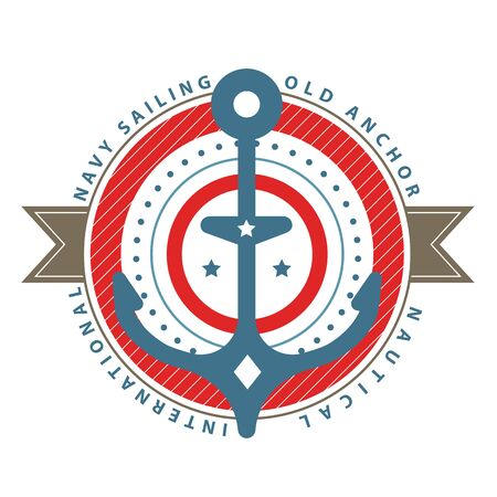 Nautical  template. Sailing object, icon vector. Marine label, sea badge, anchor  design, graphic red blue emblem. Anchor, ship silhouette. Boat, anchor, lighthouse, handwheel symbol image. 일러스트