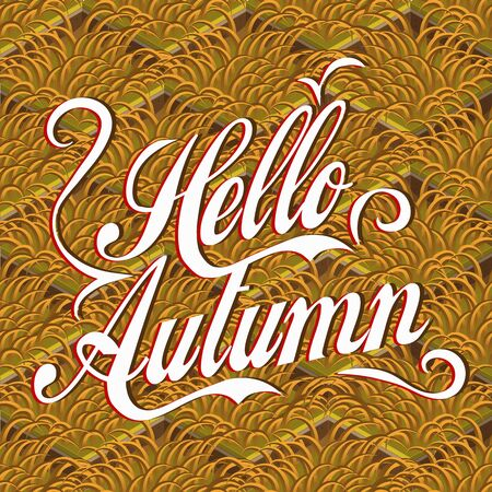 Hello autumn lettering background with withered grass, isometric vector pattern. Hello autumn lettering on ocher grass backdrop. Pattern with Hello autumn lettering background, screen saver, design.