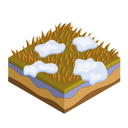 Grass and soil tile with layers isometric vector. Dry autumn withered grass with fallen leaves, snow. Seasonal autumn ocher grass soil layer tile. Realistic nature grass tile for game design concept