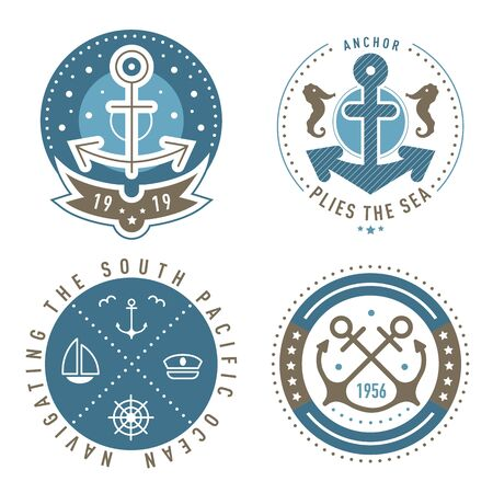 Nautical  template set. Sailing object, icon vector set. Marine label, sea badge, anchor  design, graphic emblem. Anchor,  ship silhouettes. Boat, anchor, lighthouse, handwheel symbols image