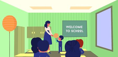 Vector school composition, background. Primery school. Children in classroom at lesson, little pupils on September 1st. Education concept 2019 welcome back to school for banner, poster. School image.