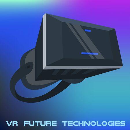 Realistic VR glasses poster on vibrant gradient. Future technologies poster. VR headsets vector illustration image. Virtual Reality 3d. Game futuristic helmet, digital glasses, device. Design concept Illusztráció