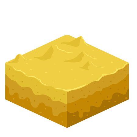 Soil layers vector isometric element. Platform of texture of soil. Game design ground 3d isometric tile. Nature landscape in 3d style interface. Sand, summer beach, desert. Vector image. Illustration