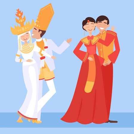 Local weddings set with Indonesian, Chinesse bride, groom wearing traditional dress, engaging in local customs. Vector set of Wedding couples in traditional clothes. Different weddings vector image 矢量图像