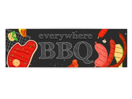 Modern vector barbecue party, menu, invitation design template. Trendy BBQ cookout poster, web banner, cover design, sample text. Vector BBQ design concept template. Summer barbecue weekend flyer