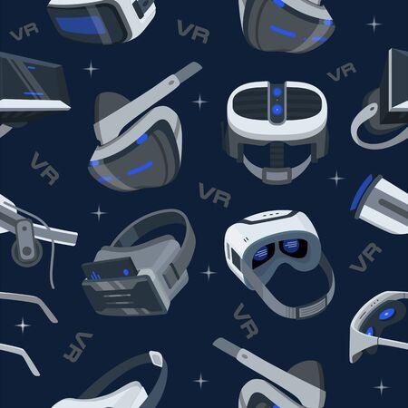 Realistic VR glasses pattern on blue background. VR headsets vector illustration isometric backdrop. Virtual Reality 3d pattren. VR game futuristic helmet, digital glasses, device. 3D glasses backdrop Illusztráció