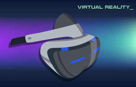 Realistic VR glasses poster on vibrant gradient. Future technologies poster. VR headsets vector illustration image. Virtual Reality 3d. Game futuristic helmet, digital glasses, device. Design concept Çizim