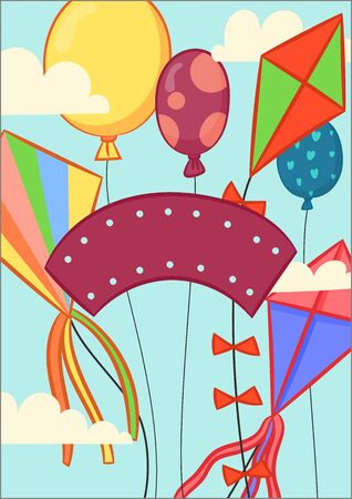 Happy birthday and children holiday gift card template. Vector design of Birthday, Universal Children day greeting card background, banner, poster. Backdrop concept for your design. Birthday image