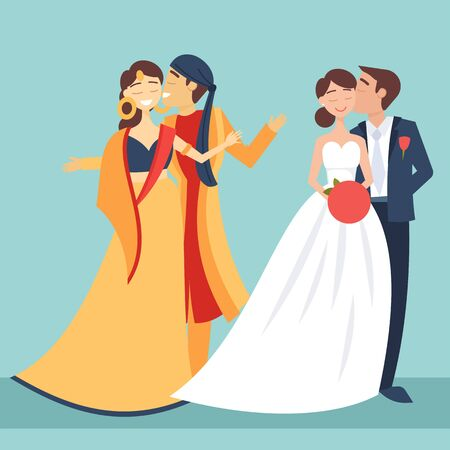 Local weddings set with European, Indian bride, groom wearing traditional dress, engaging in local customs. Vector set of Wedding couples in traditional clothes. Different weddings vector image