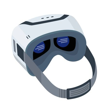 Realistic VR glasses isolated on white background. VR headsets vector illustration isometric image. Virtual Reality 3d. VR game futuristic helmet, digital glasses, device. Simulation 3D mask glasses