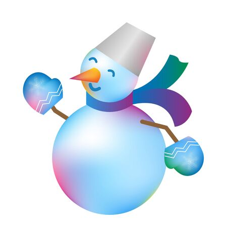 Cheerful Snowman isolated, white background. Vector illustration. Christmas snowman in vibrant gradient style. Festive Christmas image for design, poster, invitation, gift, greeting card.