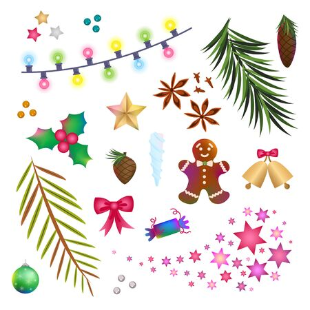 Christmas icons, objects, symbols collection. Christmas detailed vector set of fir tree, firework, tree toy, New Year festive bell. Decor elements for graphic design of New Year celebration.