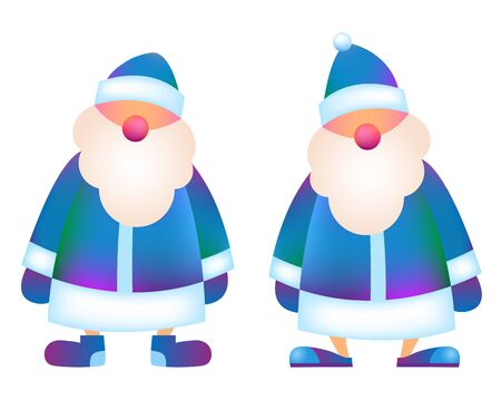 "Russian Father Frost - ""Ded Moroz"" 2020. Vector cartoon illustration. Christmas, New Year Father Frost in blue coat. Santa Claus Christmas set. Character, mascot design. Element for New Year design"