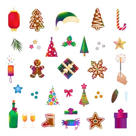 Christmas icons, objects, symbols collection. Christmas detailed vector set of fir tree, firework, tree toy, balls, New Year festive bell. Decor elements for graphic design of New Year celebration.