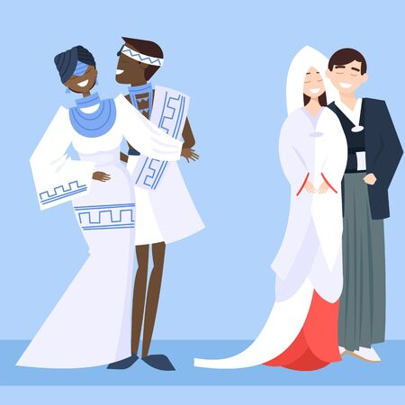 Local weddings set with African, Japanesse bride, groom wearing traditional dress, engaging in local customs. Vector set of Wedding couples in traditional clothes. Different weddings vector image Illustration
