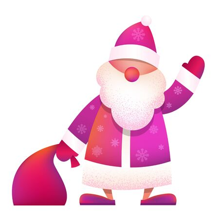 Russian Father Frost - Ded Moroz. Vector cartoon illustration. Christmas, New Year Father Frost in red coat. Santa Claus Christmas waving with bag. Character, mascot design. Иллюстрация