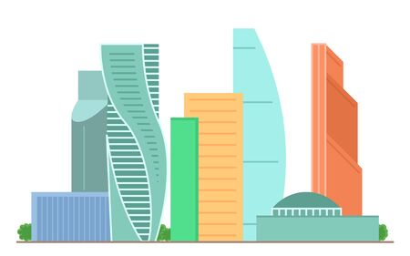 Sight of Moscow city vector illustration. Moscow architecture famous beautiful building. Element for design concept. Moscow city sight for tourists gift card, web design, leaflet. Ilustração