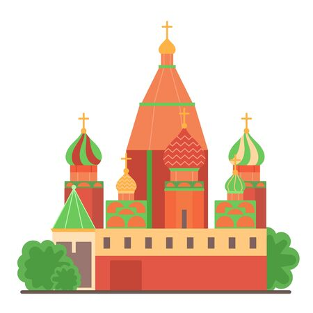 Sight of Moscow vector illustration, architecture historical famous beautiful building. Elements of sightseen for design concept of tourists gift card, web design, leaflet. Moscow Novodevichy Convent.