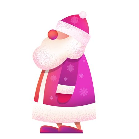 "Russian standing Father Frost - ""Ded Moroz"". Vector cartoon illustration. Christmas, New Year Father Frost in red coat. Santa Claus Christmas. Character, mascot design."