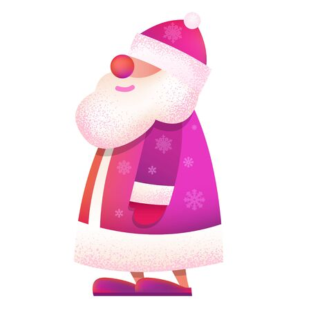 Russian standing Father Frost - Ded Moroz. Vector cartoon illustration. Christmas, New Year Father Frost in red coat. Santa Claus Christmas. Character, mascot design.