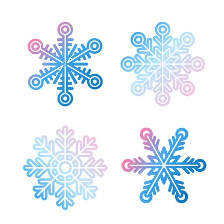 Snowflake set in modern style, Christmas, New Year, winter symbol. Vector set vibrant gradient snowflakes, icon on white background. Snowflakes pack. Winter decoration elements. Vector illustration.