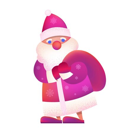 "Russian Father Frost - ""Ded Moroz"". Vector cartoon illustration. Christmas, New Year Father Frost in red coat. Santa Claus Christmas with bag. Character, mascot design."