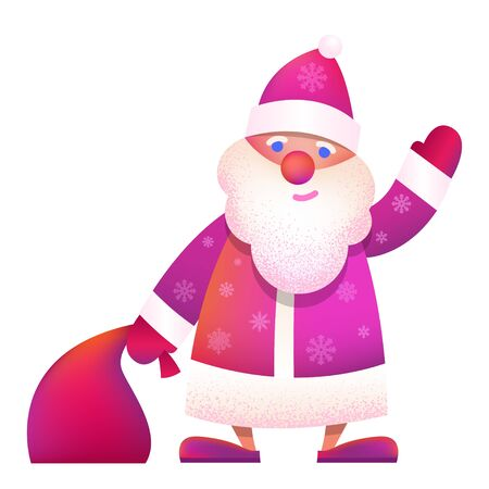 "Russian Father Frost - ""Ded Moroz"". Vector cartoon illustration. Christmas, New Year Father Frost in red coat. Santa Claus Christmas waving with bag. Character, mascot design."