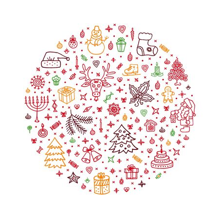 New Year, Christmas hand drawn elements in circle. New Year symbols. Happy 2020 New Year, Christmas gift card, greeting card, badge, poster, background. Vector holiday image, illustration on white. 向量圖像