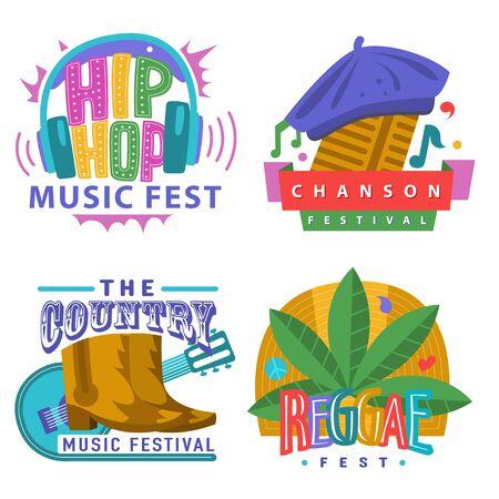 Music festivals emblem set, invitation for event. Jazz fest, Pop, Blues, Ethnic, Chanson, Trance, Downtempo, Drum n bass, Classic fest, Techno, IDM, Raggae, Hip Hop, East music festival. Vector badge Archivio Fotografico - 139944791