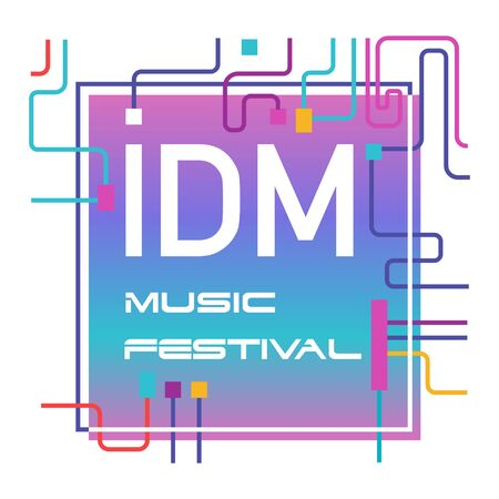 Music festivals emblem, invitation for event, party, concert. IDM music festival badge, label, logo, sign, symbol. Vector illustration. Design concept image.