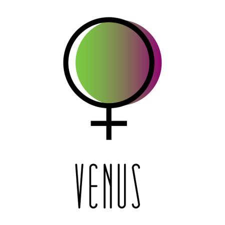 Planet symbol, sign of Venus. Symbol illustration of astrology planet - Venus. Zodiac and astrology sign, element. Planetary god and lunar node. Astrological planet. Vector illustration. Gender woman