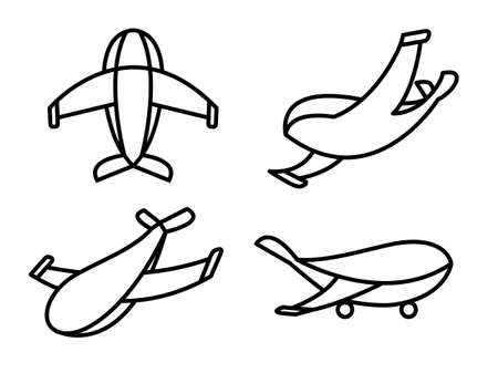 Vector airplane icons: passenger plane, military jet. Thin line airplane icons set. Military jet icon. Aviation icons universal set for web and mobile apps. Cartoon cute aircraft. Flat vector image.