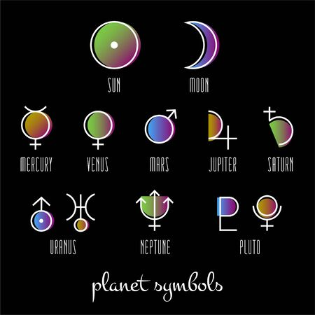 Planet symbol, sign collection. Main symbols illustration of astrology planet. Zodiac and astrology signs, elements. Planetary gods and lunar nodes. Astrological planets. Vector illustration set.  イラスト・ベクター素材