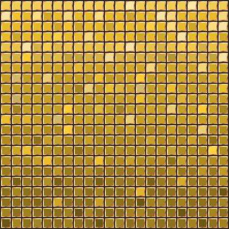 Golden Mosaic ceramic tile design element in square. Abstract gold texture background. Design gold tile element. Background for banner, poster, leaflet, web, site. Vector illustration.