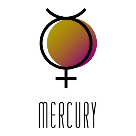 Planet symbol, sign of Mercury. Symbol illustration of astrology planet - Mercury. Zodiac and astrology sign, element. Planetary god and lunar node. Astrological planet. Vector illustration.