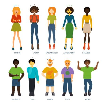 Men or women expressing various emotions: sadness, anger, fear, worry, relax, crying, happiness, victory, tiredness, melancholy, gladness, amazement. Image of different full-length people emotions Illustration