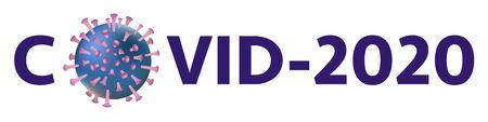 Covid-20 Coronavirus concept inscription typography design  . World Health organization WHO introduced new official name for Coronavirus disease name COVID-2019. Dangerous virus vector illustration Ilustração