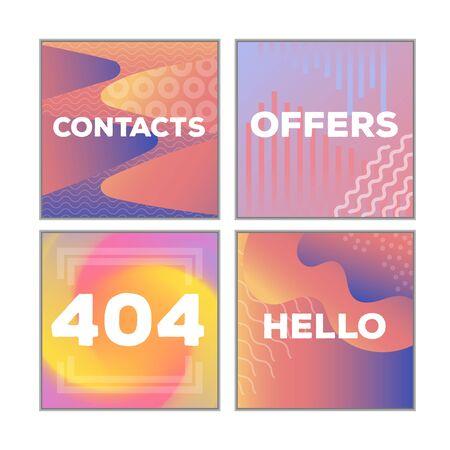 Social Network Mockup. Mobile App. Vibrant gradient GUI. Design template of corporate or private blog. Creative screen design concept for blogger, designer, shop owner, entrepreneur, business