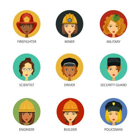 Women working in non-traditional roles, industries: technolog, miner, military, automechanic, scientist, builder, driver, firefighter, policeman, security guard, engineer. Hard female professions, job Vectores