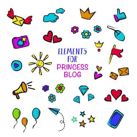 Vlog and blog elemets for design concept, blogging elements for princess design. Screen saver templates for girl blog. Visualization design for blog. Vector set