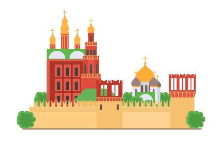 Sight of Moscow vector illustration. Moscow Kremlin, architecture historical famous beautiful building. Element for city design concept. Moscow building for tourists gift card, web design, leaflet