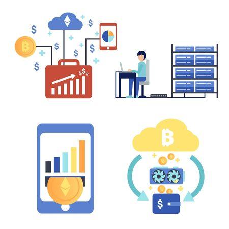 Bitcoin Mining Farm. Digital Crypto Currency. Modern Web Money. Mining of crypto-currencies. Farm with video cards. Vector flat illustration. Design concept of cryptocurrency, bitcoin mining, farm