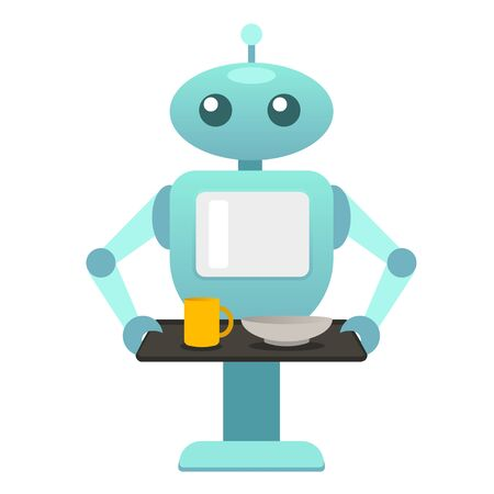 Robot waiter, food robo, help disabled people, robot with kitchen tray, housework, mechanic robot, personal robo assistant, smart helper machine. Colorful vector design illustration for web, printing