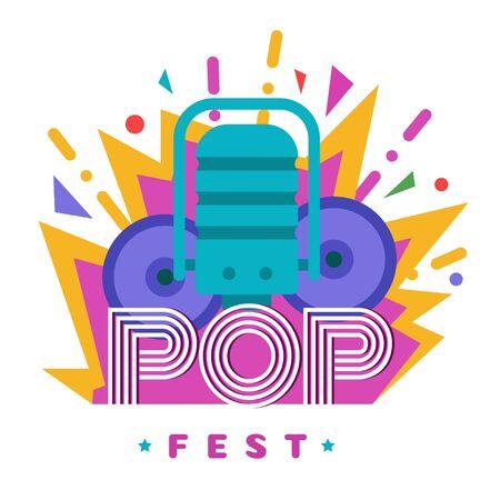 Music festivals emblem, invitation for event, party, concert. POP music festival badge, label, logo, sign, symbol. Vector illustration. Design concept image.